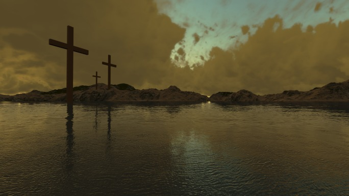 three crosses  made in 3d software